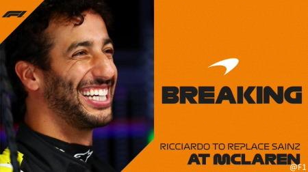 リカルド、2021マクラーレンへ移籍