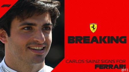 サインツ、2021フェラーリへ移籍