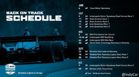 2020インディカーシリーズ改訂版カレンダー