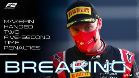 2020F2バーレーン(アウタートラック)決勝レース1でマゼピンにペナルティが2つ