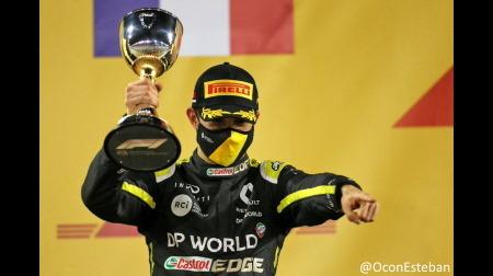 オコン、2位で初表彰台@F1サクヒールGP
