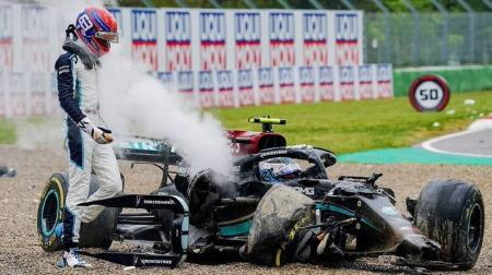 ラッセル、ボッタスに非はないと認める@2021F1エミリア・ロマーニャGPでのクラッシュの件