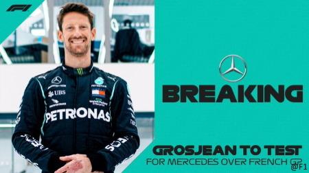 グロージャン、メルセデスW10で引退走行