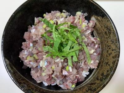 サバとカタボシイワシのタタキ丼