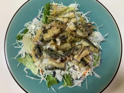 ウルメイワシの天ぷらサラダ