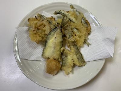 カタクチイワシのかき揚げとハゼとマイワシの天ぷら