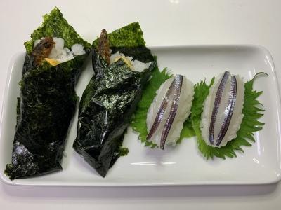 カタクチイワシの手巻き寿司とトウゴロウイワシの握り寿司