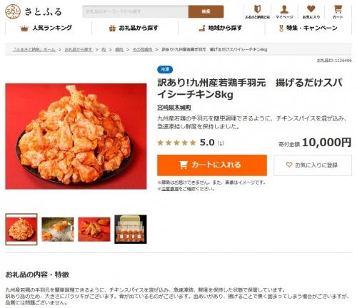 ふるさと納税 2020 宮崎県木城町 九州産若鶏手羽元 揚げるだけスパイシーチキン8kg 追加