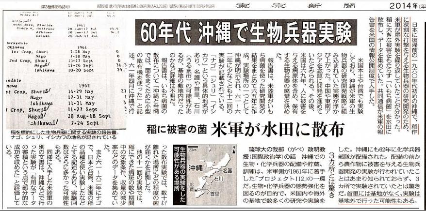 20200420米軍60年代沖縄で生物兵器実験
