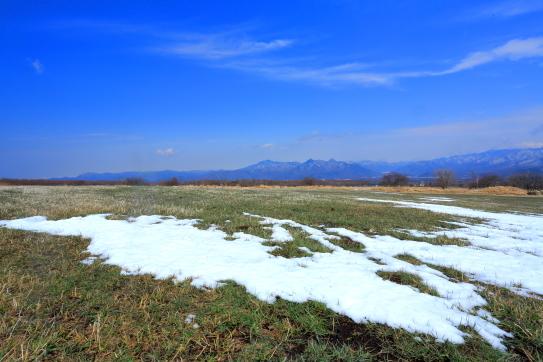 野辺山高原の牧草地から東信の山々を望む