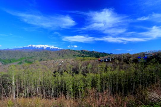 芽吹く落葉松林と残雪の御岳山を彩る雲