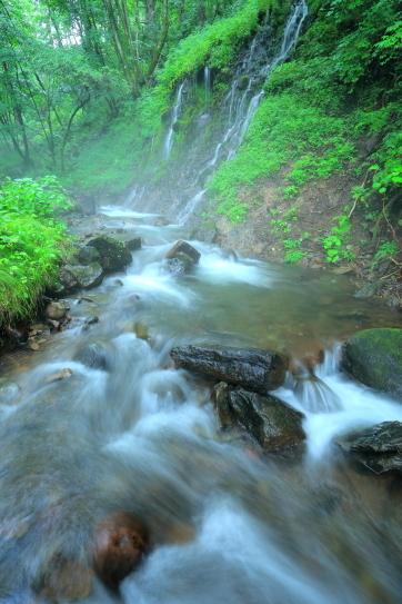 地蔵峠南側の苔むす滝と渓流