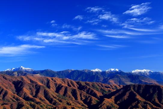 新雪の塩見・荒川・赤石岳を彩る雲