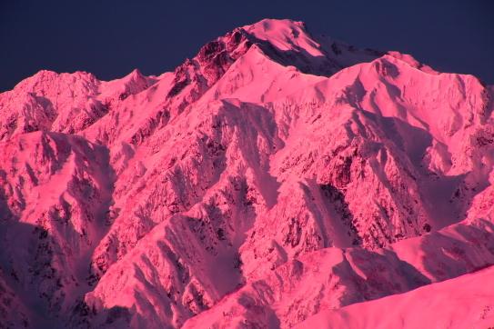 ピンク色に染まる五竜岳