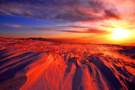 落日の霧ヶ峰