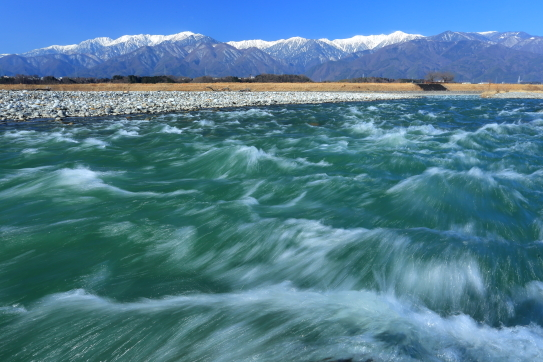 天竜川と中央アルプス