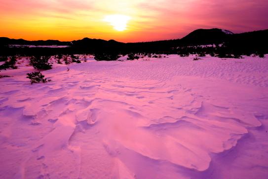 朝日に輝くシュカブラと小浅間山