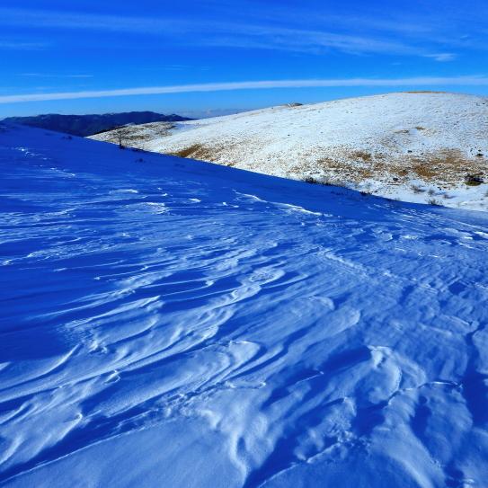 強風が削った雪原と丸い山