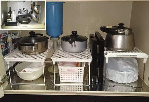キッチン セリアコの字ラックでシンク下収納アフター2014