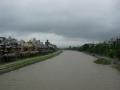 200711四条大橋から水量の増えた鴨川