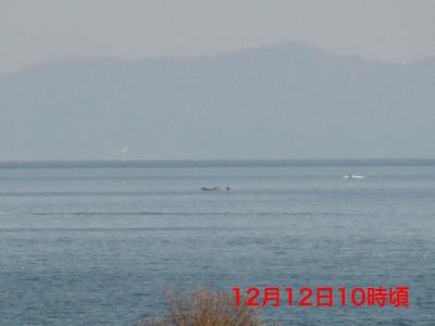 北湖のはるか沖で釣り中のボート(12月12日10時頃)
