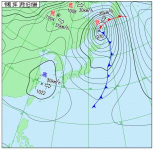 3月11日(水)15時の実況天気図