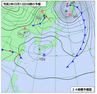 3月12日(木)9時の予想天気図