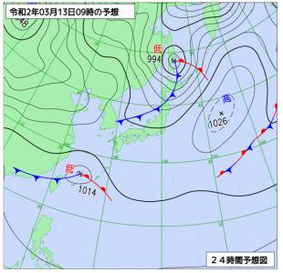 3月13日(金)9時の予想天気図