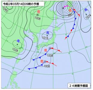 3月14日(土)9時の予想天気図
