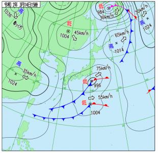 3月14日(土)15時の実況天気図