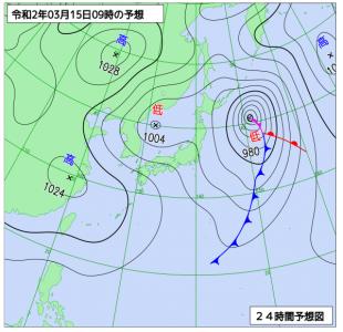 3月15日(日)9時の予想天気図