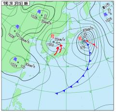 3月15日(日)9時の実況天気図