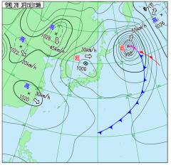 3月15日(日)15時の実況天気図