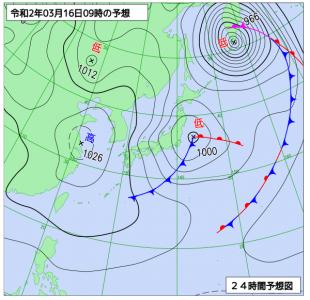 3月16日(月)9時の予想天気図