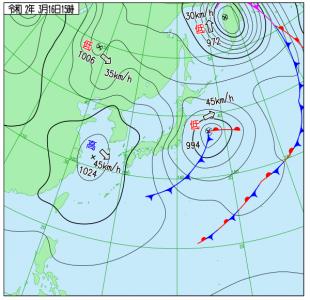 3月16日(月)15時の実況天気図