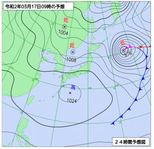 3月17日(火)9時の予想天気図