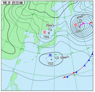 3月17日(火)15時の実況天気図
