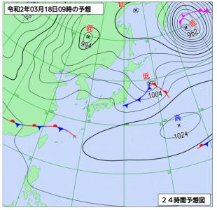 3月18日(水)9時の予想天気図