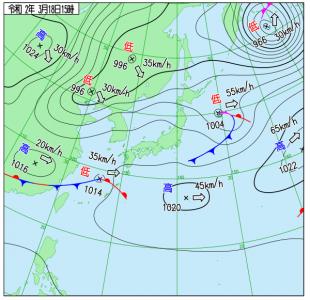 3月18日(水)15時の実況天気図