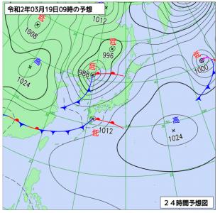 3月19日(木)9時の予想天気図