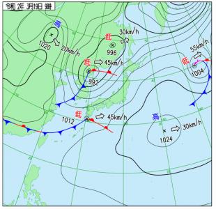 3月19日(木)9時の実況天気図
