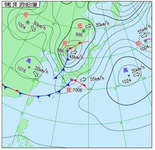 3月19日(木)15時の実況天気図