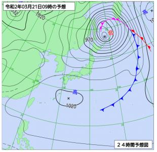3月21日(土)9時の予想天気図