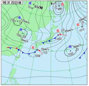3月22日(日)15時の実況天気図