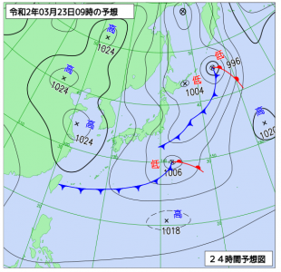 3月23日(月)9時の予想天気図