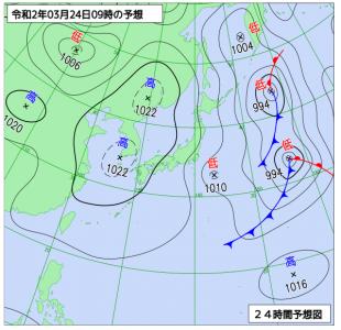 3月24日(火)9時の予想天気図