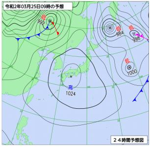 3月25日(水)9時の予想天気図