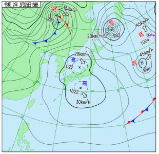 3月25日(水)15時の実況天気図