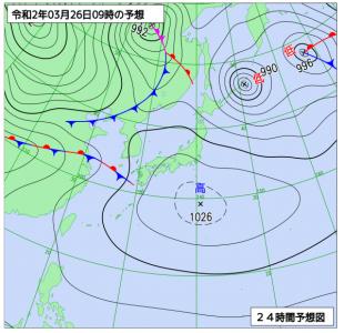 3月26日(木)9時の予想天気図