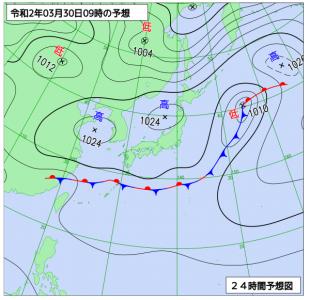 3月30日(月)9時の予想天気図